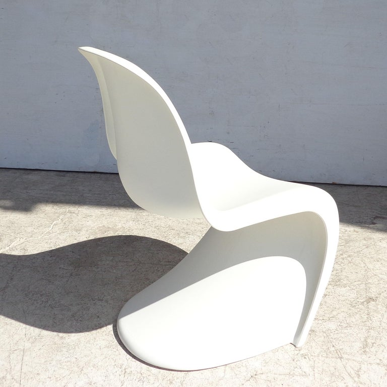 Mid-Century Modern White Panton Chair by Verner Panton for Vitra with Side Stool For Sale