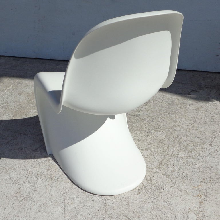 European White Panton Chair by Verner Panton for Vitra with Side Stool For Sale