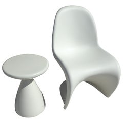 White Panton Chair by Verner Panton for Vitra with Side Stool