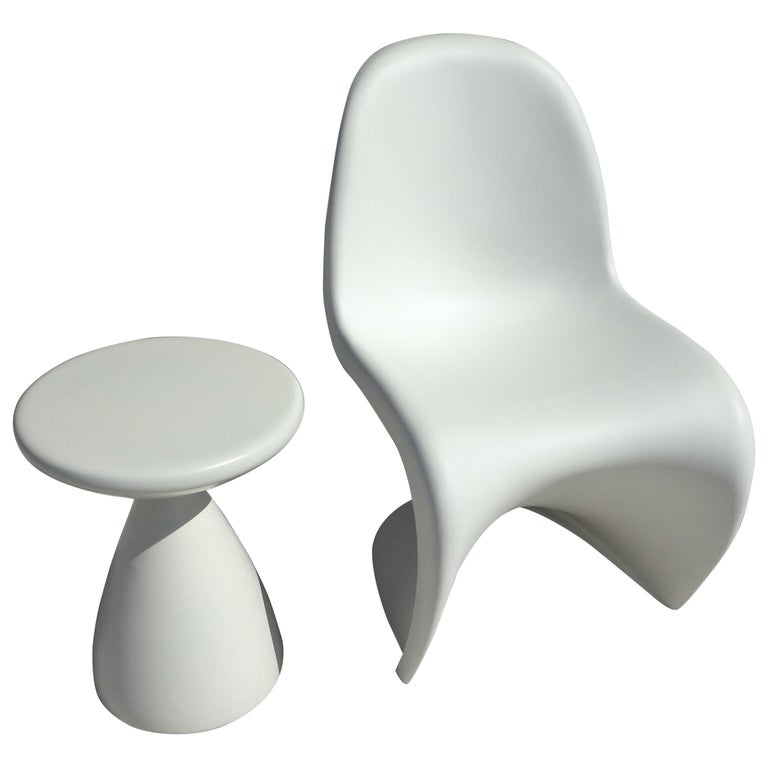 White Panton Chair by Verner Panton for Vitra with Side Stool For Sale