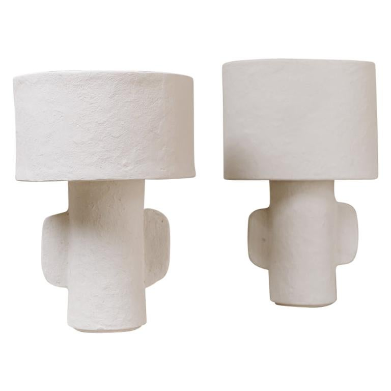 White Papier Maché Table Lamps