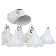 White Parabolic Factory Lights by Benjamin, circa 1950s