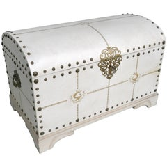 White Parchment Leather Cabin Pander Trunk in style of Jacques Adnet 1940s