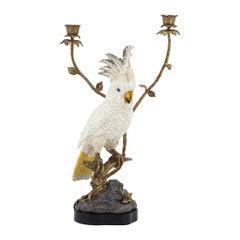 White Parrot Candleholder