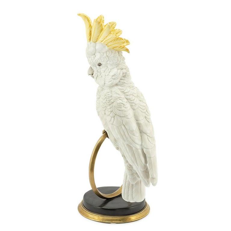 Italian White Parrot on Ring Sculpture in White Porcelain For Sale
