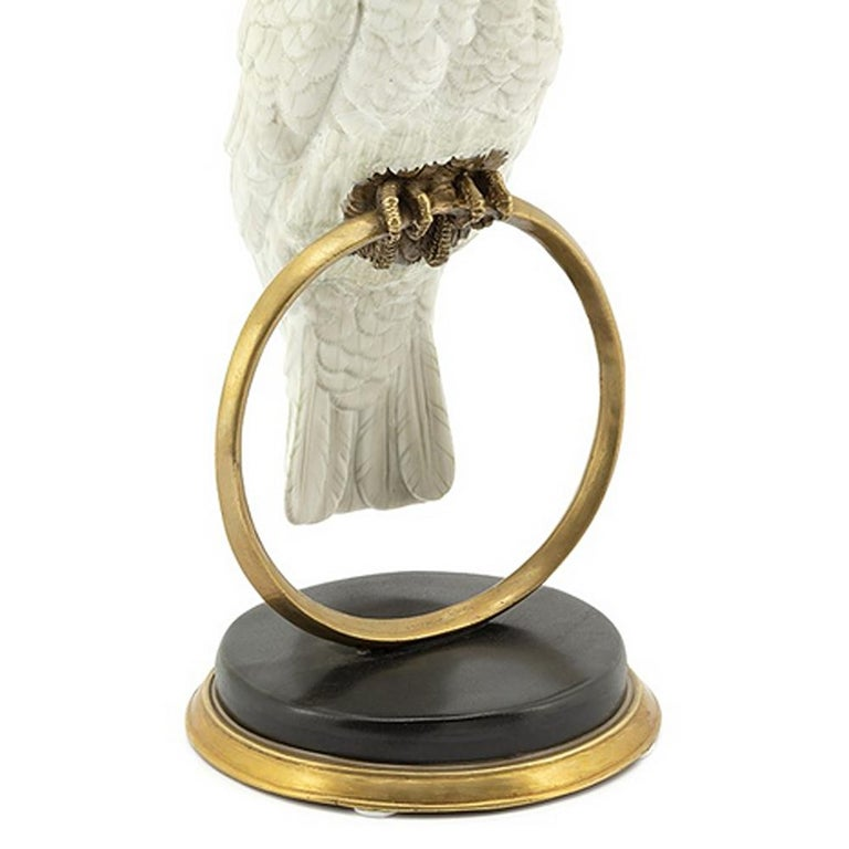 Hand-Crafted White Parrot on Ring Sculpture in White Porcelain For Sale