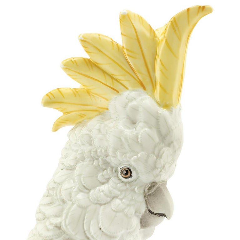 Brass White Parrot on Ring Sculpture in White Porcelain For Sale