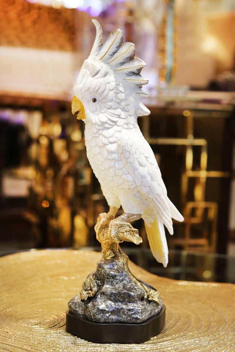 Sculpture white parrot all handcrafted in