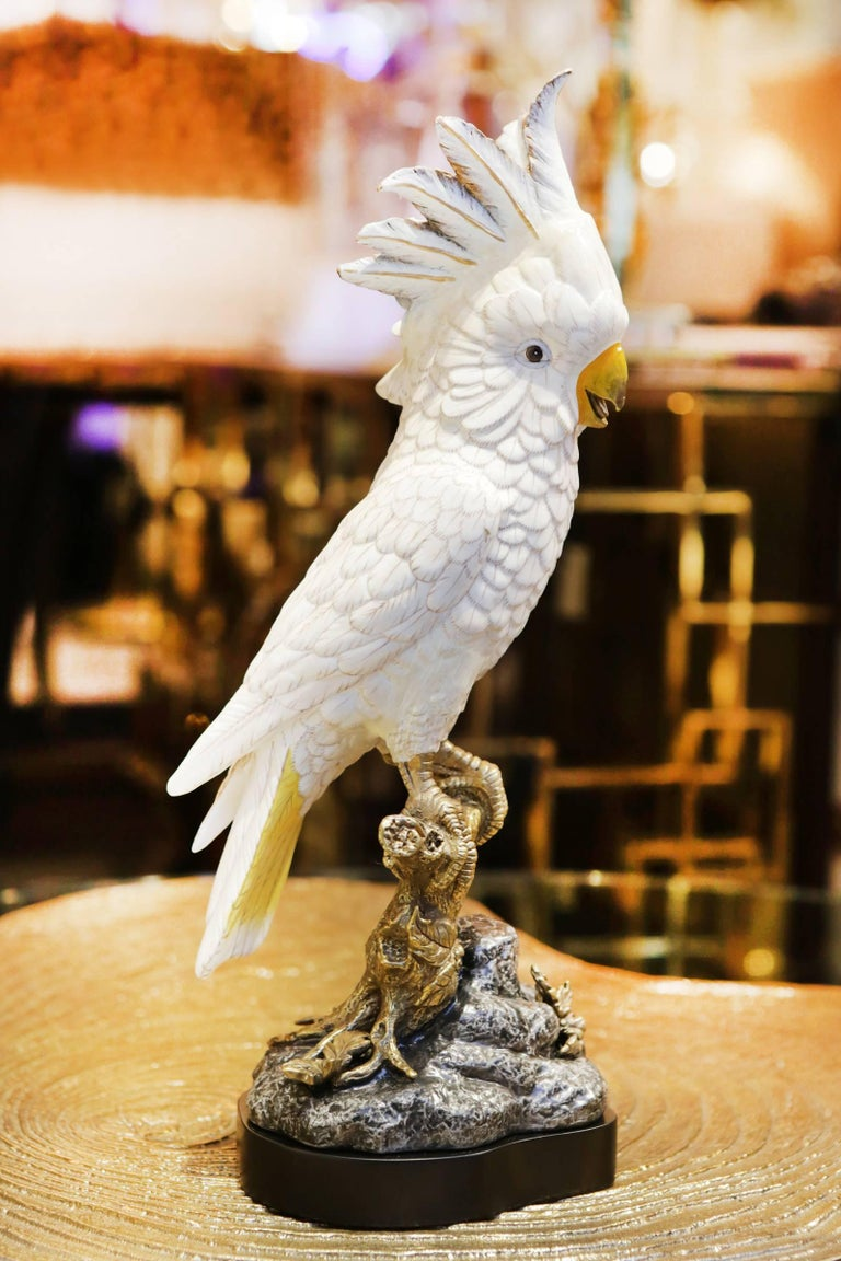 Cast White Parrot Sculpture in Hand-Painted Porcelain and Bronze For Sale