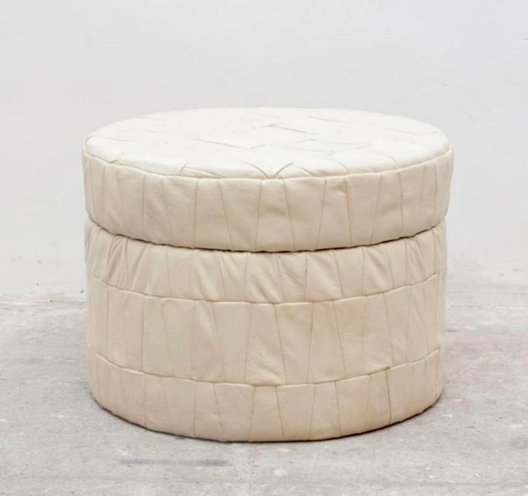 Swiss White Patchwork Leather De Sede Ottoman with Storage For Sale