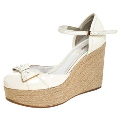 White Patent Leather Wedges Espadrille Ankle Strap Platform Sandals Size 38