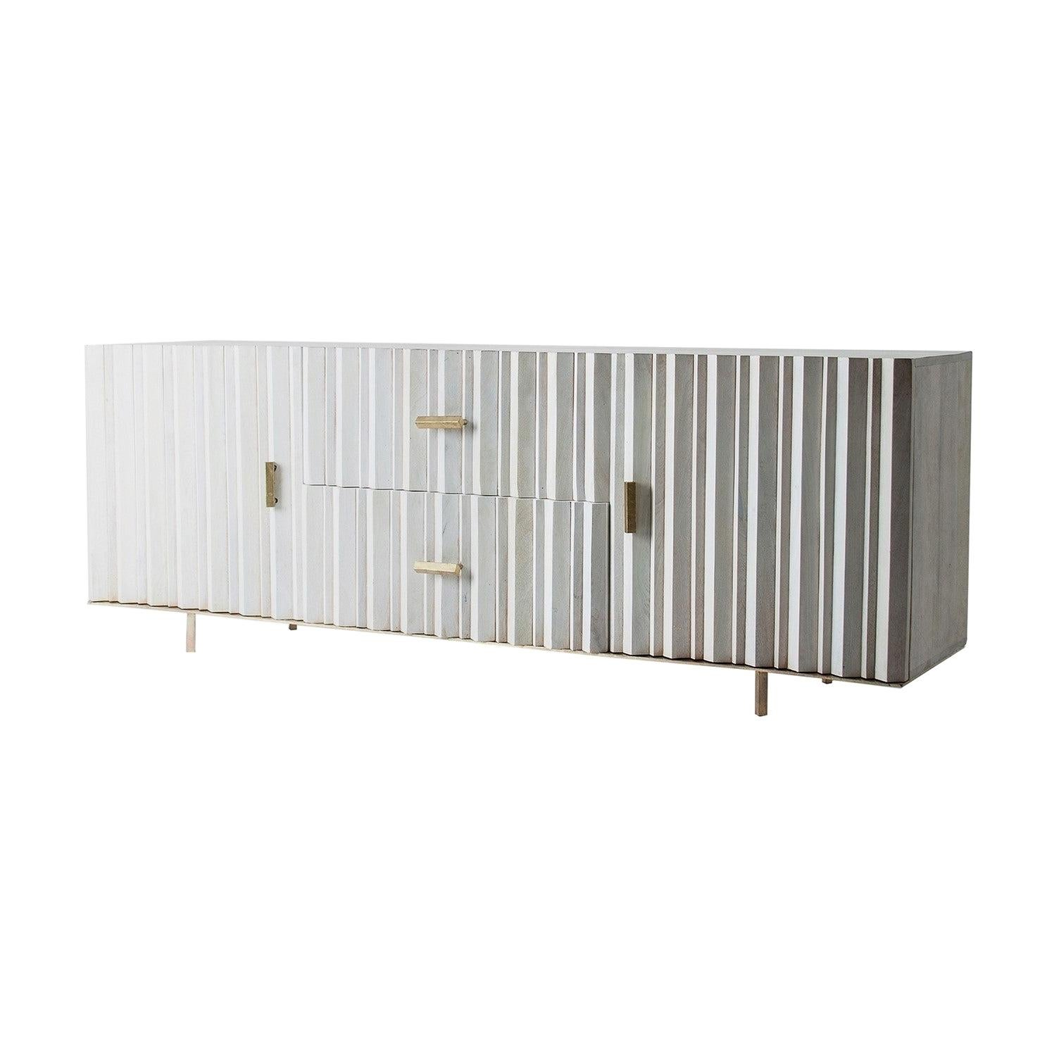 White Patina and Gilded Metal Brutalist Style And Scandinavian Design Sideboard