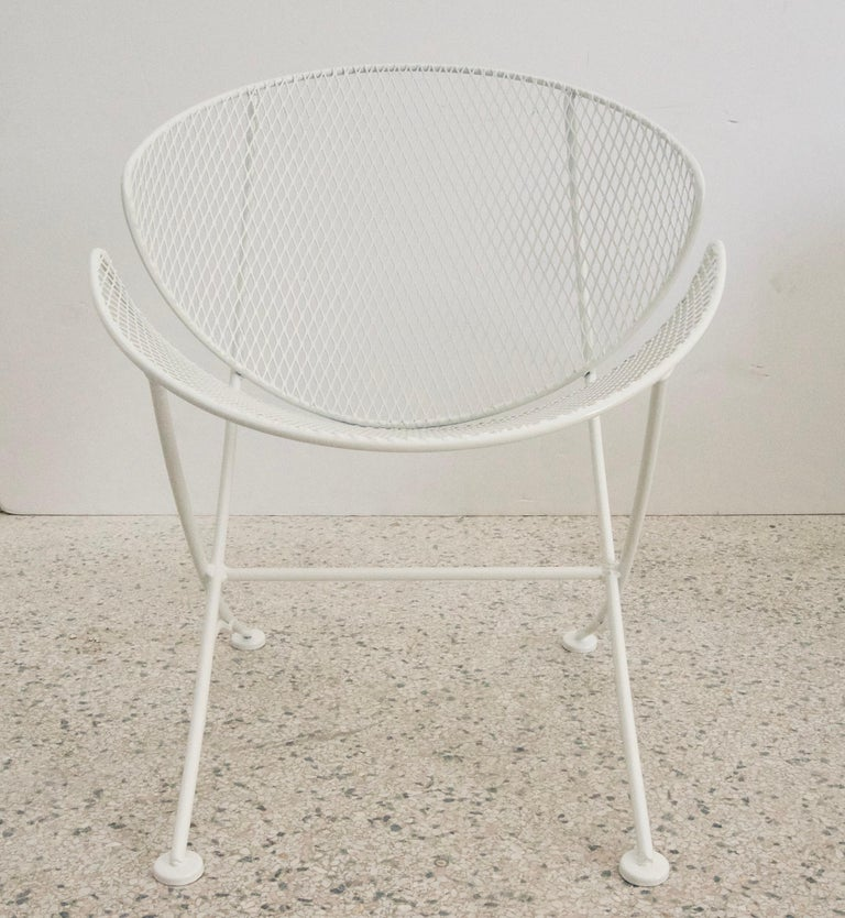 Mid-Century Modern White Patio Side Chair For Sale