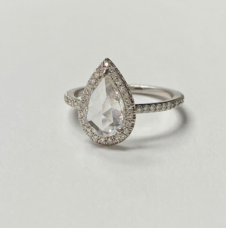 White Pear Shape Rose Cut Diamond Engagement Ring in 18K White Gold In New Condition For Sale In New York, NY