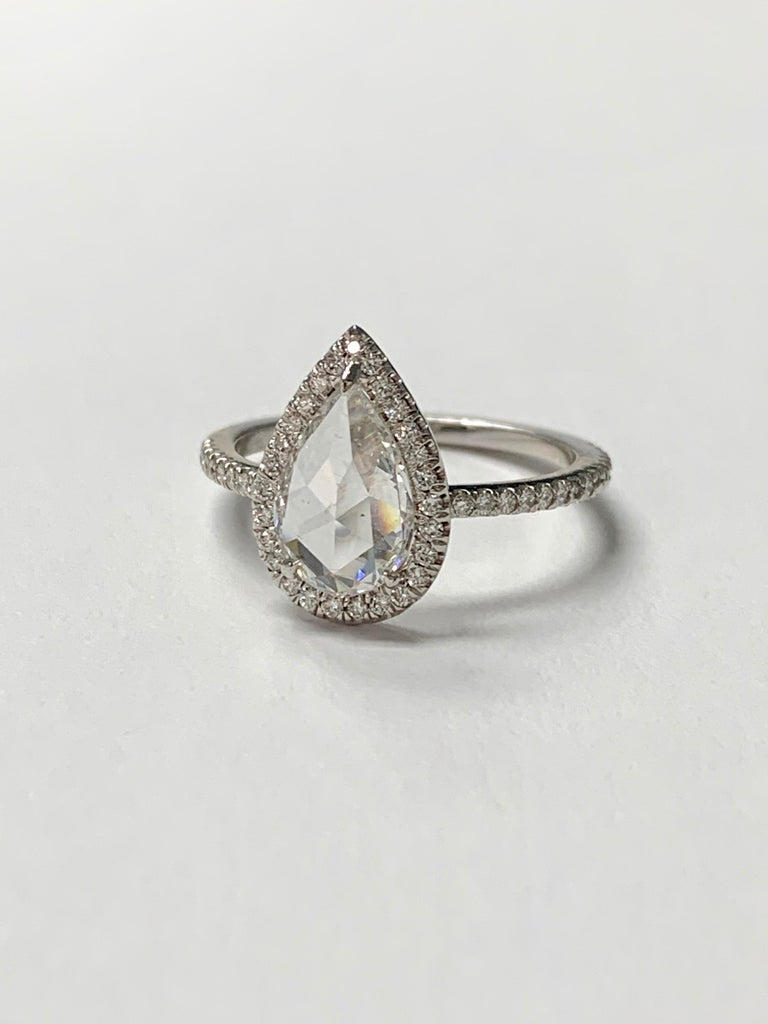 White Pear Shape Rose Cut Diamond Engagement Ring in 18K White Gold For Sale 2