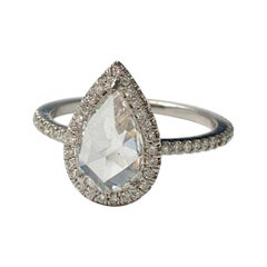 White Pear Shape Rose Cut Diamond Engagement Ring in 18K White Gold