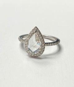 White Pear Shape Rose Cut Diamond Engagement Ring In 18K White Gold.