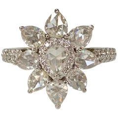 White Pear Shape Rose Cut Diamond Ring in 18 Karat White Gold
