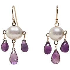 Marina J Cultured White Pearl and Amethyst Drop Earrings with 14 K Yellow Gold