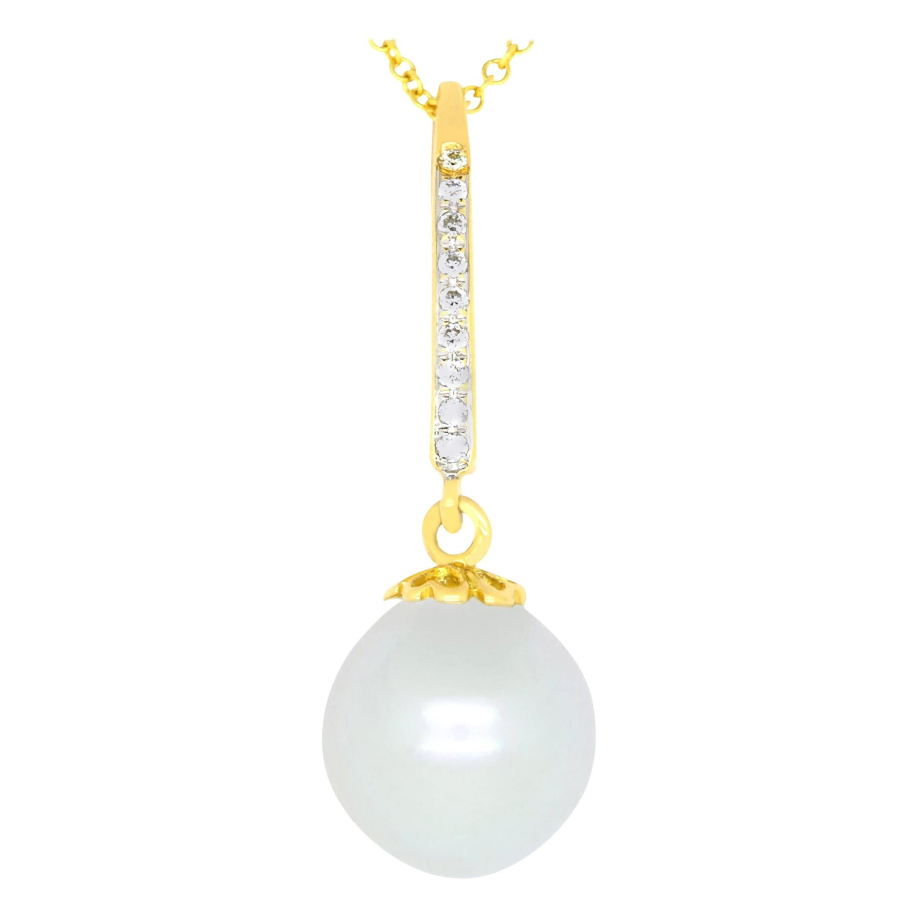 Round White Pearl and Diamond Drop Pendant Necklace 18K Yellow Gold