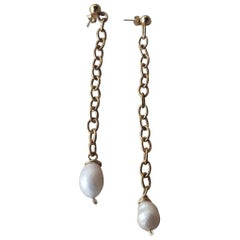 White Pearl and Gold Chain Dangle Earrings