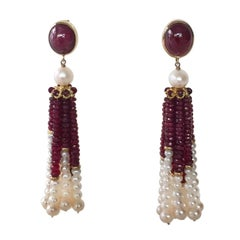 White Pearl and Ruby Graduated Tassel Earrings with 14k Yellow Gold