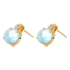 White Pearl and Trio White Diamond Set Earring