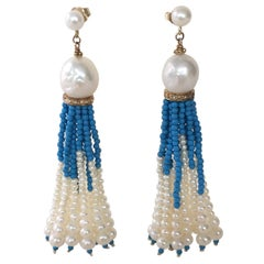 White Pearl and Turquoise Tassel Earrings with Diamond Encrusted Roundels