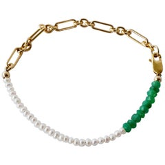 Green Chrysoprase White Pearl Gold Filled Chain Bracelet J Dauphin