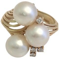 White Pearl Diamond 14K Gold Ring