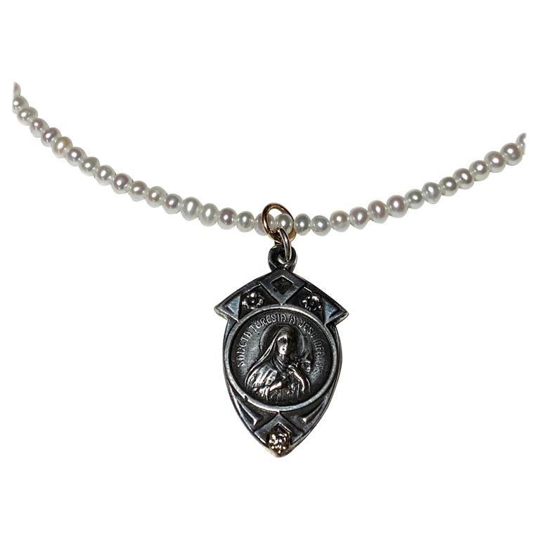 White Pearl Diamond Virgin Mary Bead Necklace J Dauphin
