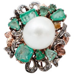 White Pearl, Diamonds, Emeralds, 9Kt Rose Gold and Silver Retrò Ring