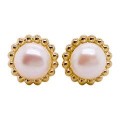 White Pearl Earrings w Bead Design, Stud Pearl Earrings, Freshwater Pearl