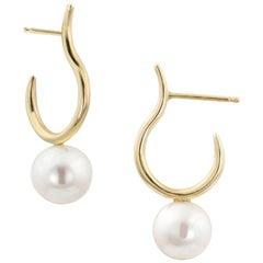 White Pearl Moon Hoop Earrings