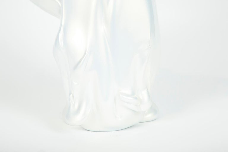 Swedish White Pearl Pitcher II Glass Sculpture by Fredrik Nielsen For Sale
