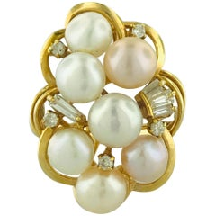 White Pearl Ring with Diamond Cluster Ring 18 Karat Yellow Gold with Pink Pearls