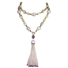 Marina J Long Pearl, Ruby, Citrine & 14 k Gold Sautior Necklace with Tassel
