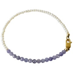 White Pearl Tanzanite Gold Filled Chain Bracelet J Dauphin