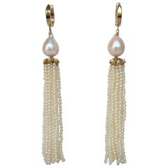 Marina J White Pearl Tassel Earrings with 14 K Yellow Gold Cup and Lever Back