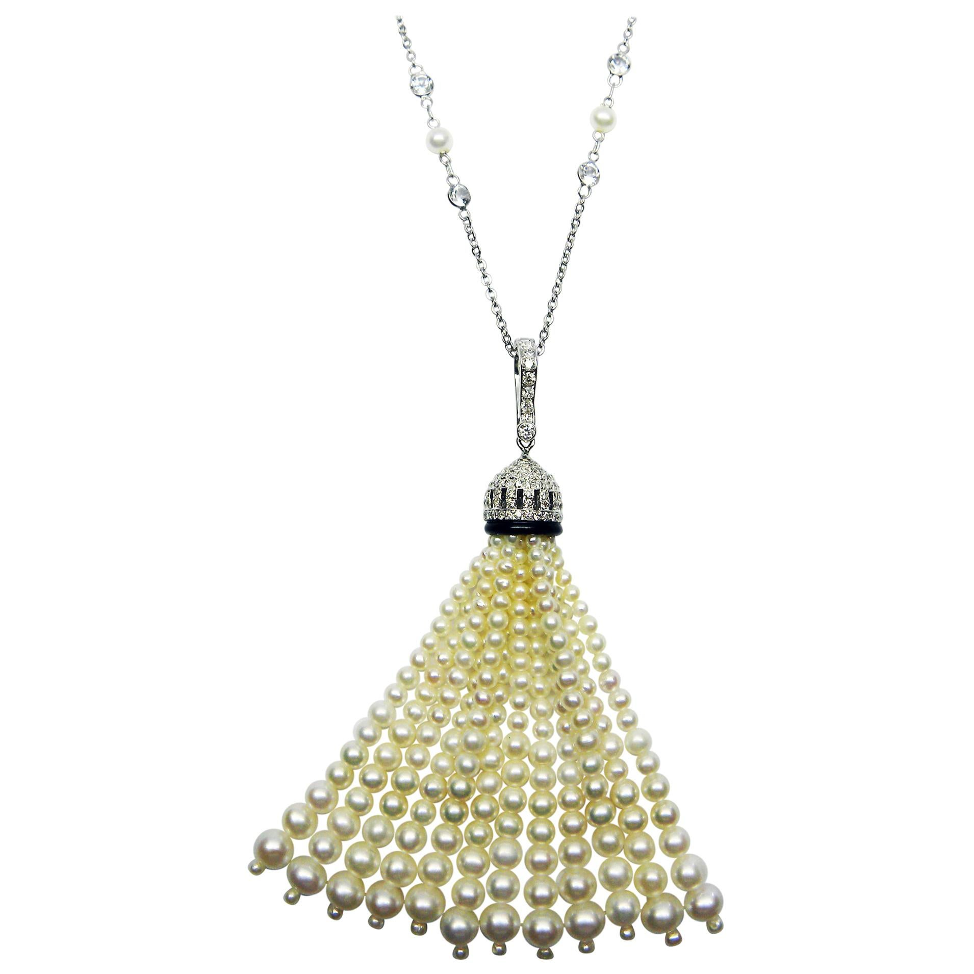 White Pearls, Black Onyx, and White Diamond Gold Tassel Necklace