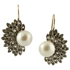 White Pearls, Diamonds, 18 Karat Yellow Gold and Silver Earrings
