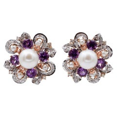 White Pearls,Diamonds,Hydrothermal Amethysts, 14 Kt White and Rose Gold Earrings