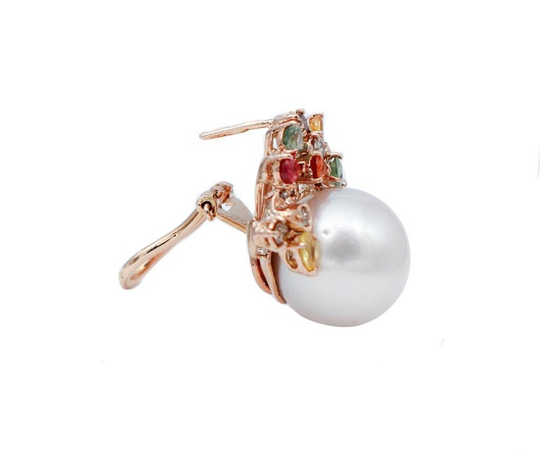 Mixed Cut White Pearls,Diamonds,Multicolor Sapphires,14 Karat Rose Gold Stud Earrings For Sale