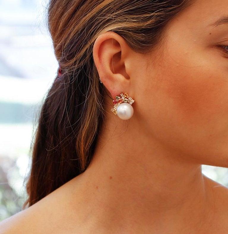 Women's White Pearls,Diamonds,Multicolor Sapphires,14 Karat Rose Gold Stud Earrings For Sale