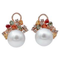 White Pearls,Diamonds,Multicolor Sapphires,14 Karat Rose Gold Stud Earrings