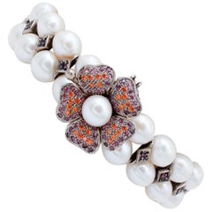 White Pearls, Rubies, Colored Stones, 9 Karat Rose Gold and Silver Bracelet