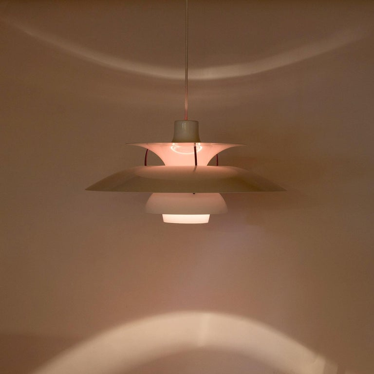 Mid-Century Modern White PH5 Pendant Light by Louis Poulsen, Denmark For Sale