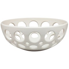 White Pierced Ceramic Fruit Bowl