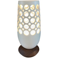 White Pierced Ceramic Table Lamp with Walnut Base