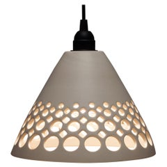 White Pierced Conical Ceramic Pendant Light